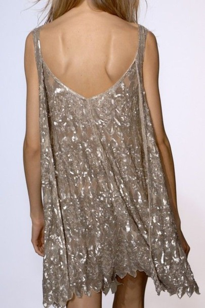 dress cream dress beige dress nude dress silver sparkles spaghetti strap