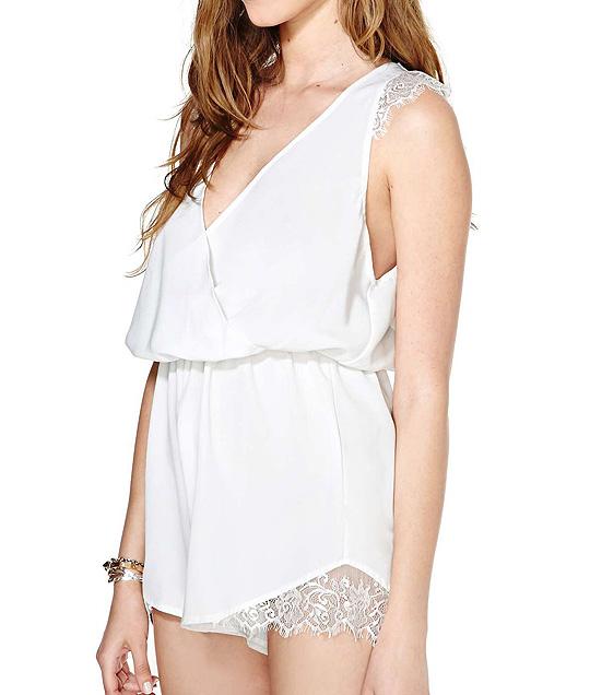 [US$33.99] - V Neck Lace Botton Sleeveless Short Jumpsuits : ThatsPoint.com