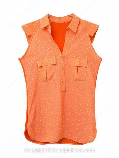 Orange Lapel Sleeveless Polka Dot Pockets Blouse - HandpickLook.com