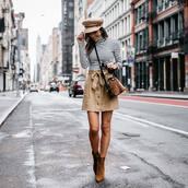 sweater,turtleneck,striped turtleneck,mini skirt,button up skirt,boots,high heels boots,fisherman cap,crossbody bag