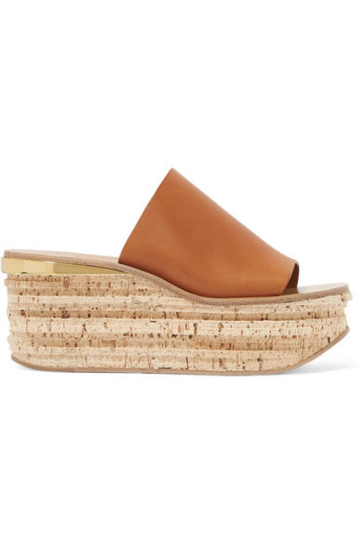 Chloé Chloé - Camille Leather Wedge Sandals - Tan