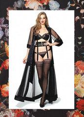 underwear,black peignoir,black robe,satin black robe,silk,nightwear,silk nightwear,black nightwear,lingerie set,black lingerie