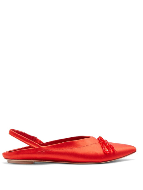 bow beaded flats satin red shoes