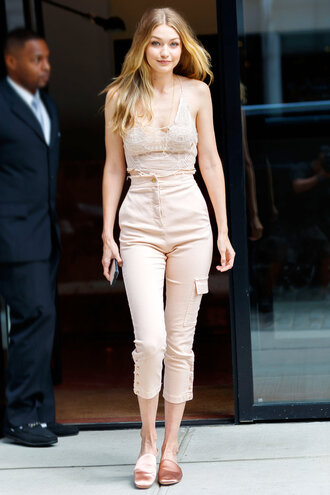 top crop tops high waisted pants nude summer outfits summer top gigi hadid model off-duty streetstyle shoes