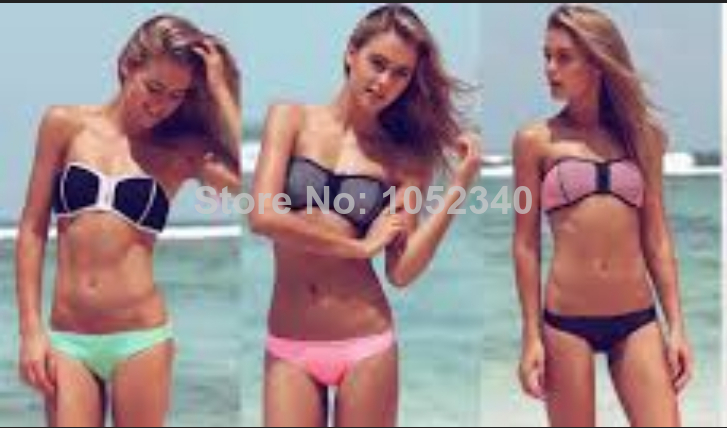 2014 Women's Fashion Triangl Neoprene Bikinis new zipper swimsuit sexy pattern Neon print bikini set swimwears-in Bikinis Set from Apparel & Accessories on Aliexpress.com