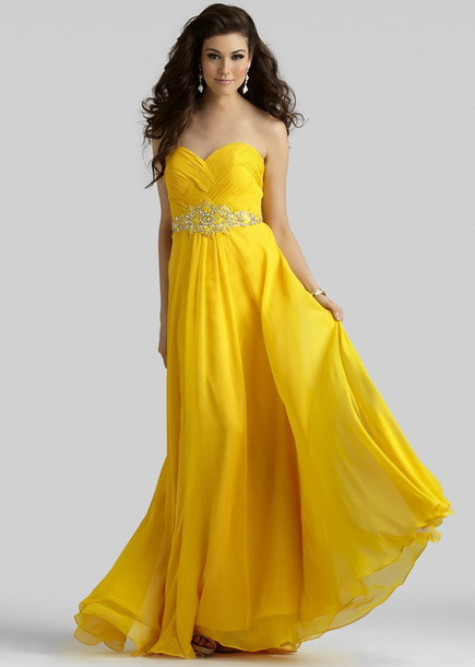 dress, pleated bust, yellow, sweetheart neck, strapless, floor ...