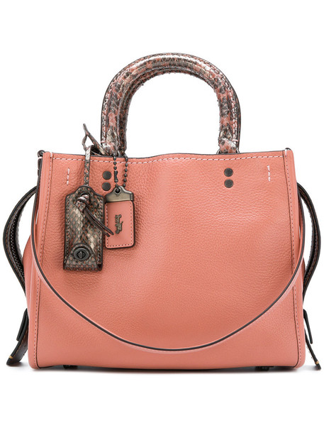 Coach - Rogue 25 tote with Colorblock Snake - women - Leather/Python Skin - One Size, Pink/Purple, Leather/Python Skin