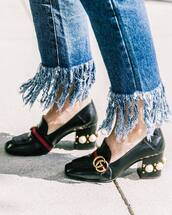 shoes,tumblr,pilgrim shoes,black shoes,high heel loafers,mid heel pumps,gucci,gucci shoes,embellished,jeans,denim,frayed jeans,frayed denim