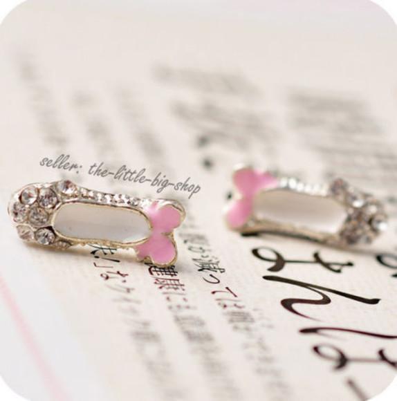 silver jewels crystal earrings pink\ alloy strss ballet ballerina ballet shoes