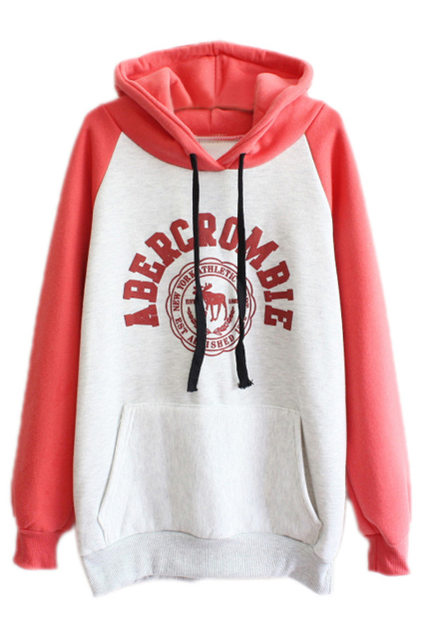 jacket hoodie salmon pink grapefruit cute pretty hoodie abercrombie & fitch