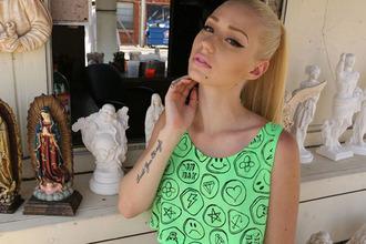 shirt iggy azalea tank top green neon crop tops lime heart top face blonde hair diamonds smiley t-shirt stickers emoji print tattoo neon green