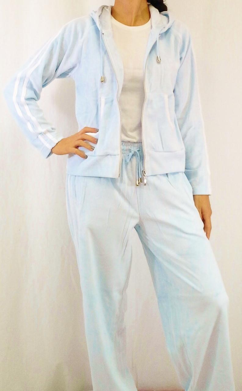 Pants. 80% cotton. light blue sweat pants with cream contrast stripes!