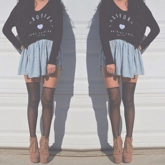 skirt heels shoes shirt tights style