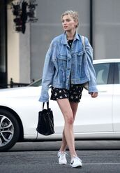 dress,denim jacket,streetstyle,model off-duty,spring outfits,mini dress,elsa hosk