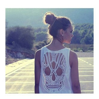 top skull fashion white blouse menina cute sleeveless