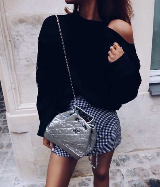 1096198b23c3 bag chanel gabrielle backpack chanel bag chanel top black top backpack  silver metallic skirt mini skirt