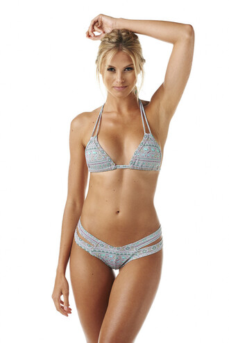 swimwear bikini top blue montce montce swim print triangle top grey halter top