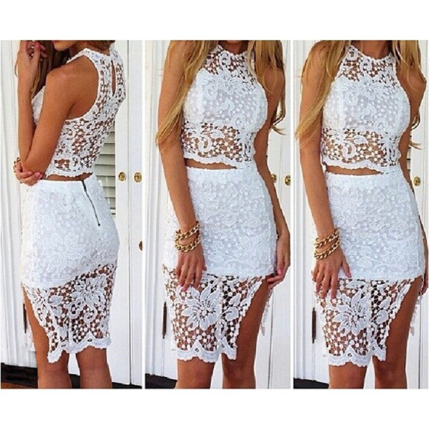 Dress: high waisted skirt, white dress, lace dress, two-piece ...
