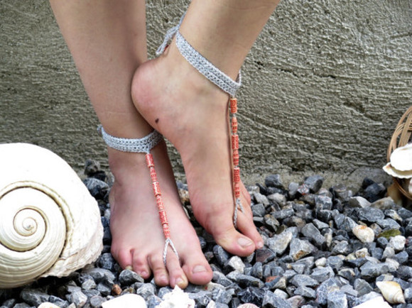 shoes grey grey sandals barefoot sandals clothes accessories flip-flops beaded beach coral beaded sandles beach fashion hippie boho