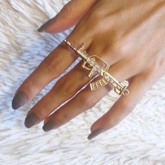 diamonds jewels ring gold gun ak47