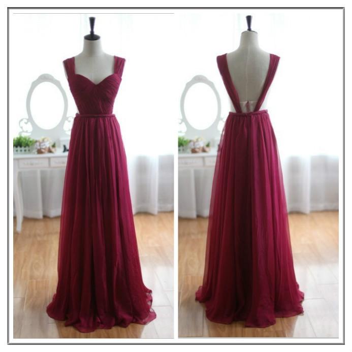 Wine Red Burgundy Chiffon Bridesmaid Dress/Prom Dress / Simpledresses
