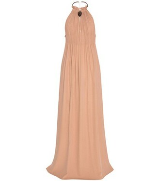 gown embellished silk beige dress
