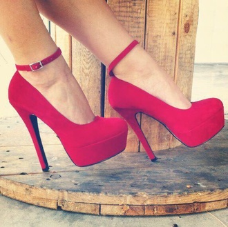 shoes straps high heels style heels redheels red red high heels red dress formal homecoming long buckles covered toe thin strip felt suade prom shoes ankle strap heels platform shoes pumps redpumps redstilettos prom stilletto heels red shoes red heels