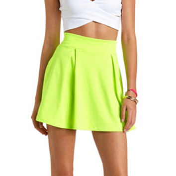 NEON PLEATED HIGH-WAISTED SKATER SKIRT on Wanelo