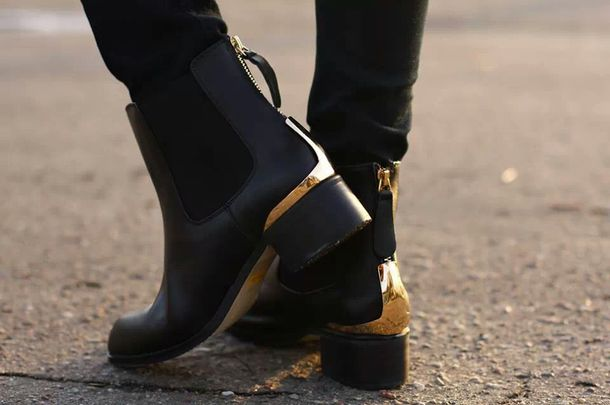 Shoes: boots, chelsea boots, ankle boots, ankle boots, gold, black ...