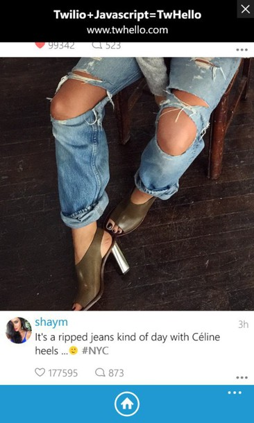 ripped jeans silver shoes peep toe celine shoes jeans