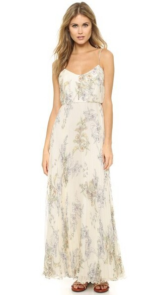 gown chiffon pleated floral silk dress