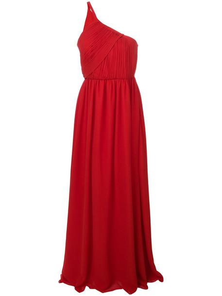 gown long women draped silk red dress