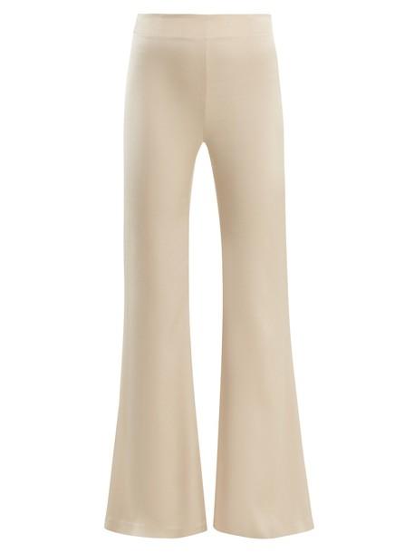 high satin cream pants