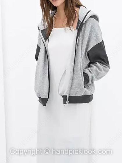Grey Hooded Long Sleeve Pockets Loose Coat - HandpickLook.com