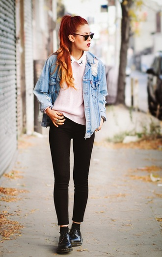 le happy blogger jacket sunglasses baby pink denim jacket drmartens
