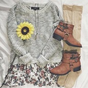 sweater,skirt,socks,shoes,grey sweater,dress,floral dress,booties,cute dress,cute sweater,cute shoes,cute sweaters,casual sweater,spring sweater,floral,cute,girly,hair accessory,cardigan