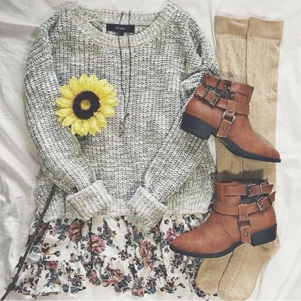 sweater skirt socks shoes grey sweater dress floral dress booties cute dress cute sweater cute shoes cute sweaters casual sweater spring sweater floral cute girly hair accessory cardigan