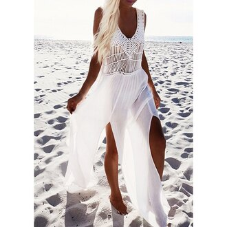 dress white fashion beach trendy tan slit dress hot summer rose wholesale-ma