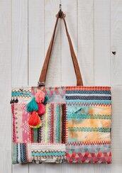 bag,purse,boho,tote bag,boho tote,patchwork,patchwork bag,tassel,bohemian,beach,trendy,trending fashion,fall outfits
