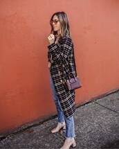 coat,wool coat,checkered,jeans,boots,ankle boots,high waisted jeans,shoulder bag,mini bag,sunglasses
