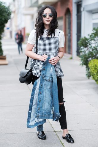 the fancy pants report blogger top jacket jeans shoes sunglasses bag shoulder bag denim jacket loafers black jeans spring outfits