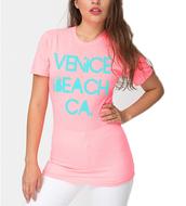 t-shirt,venice beach,neon pink,american apparel,graphic tee,crewneck,pink