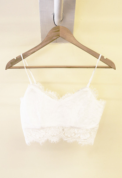 Eyelash Lace Strappy Bralet in White – One Nation Clothing