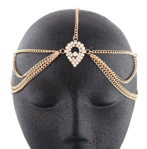 Amazon.com: Gold Metal Head Chain with a Large Centered Teardrop Style: Jewelry