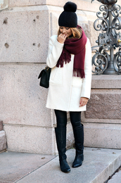 mariannan,blogger,scarf,bag,pom pom beanie,fall outfits,coat,hat,shoes