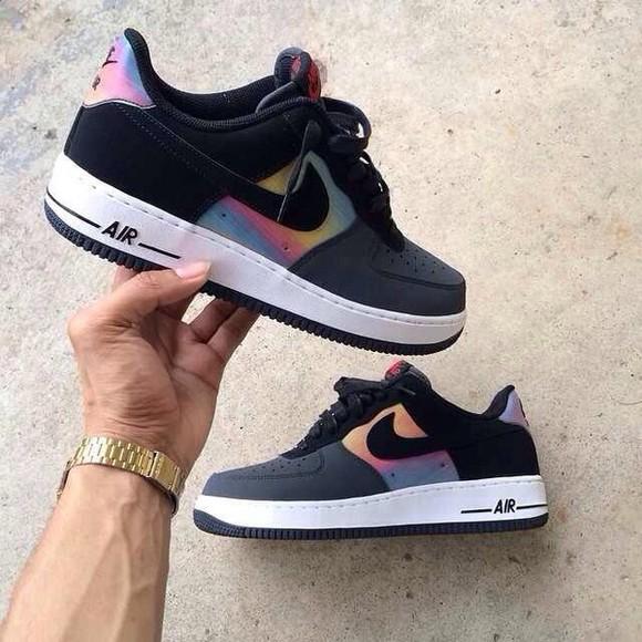 shoes sneakers nike nike air force 1 black rainbow