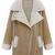 ROMWE | ROMWE Panel Faux Fur & Leather Lapel Khaki Coat, The Latest Street Fashion
