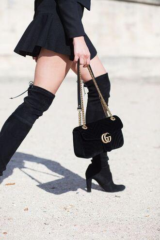 bag tumblr velvet velvet bag gucci gucci bag dionysus chain bag black bag boots black boots high heels boots over the knee boots