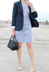 whatjesswore,blogger,dress,jacket,jewels,blazer,handbag,blue dress,fall outfits,office outfits,pumps