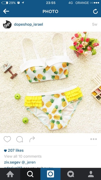 swimwear white beautiful swimsuit pineapple swimsuit pineapple print